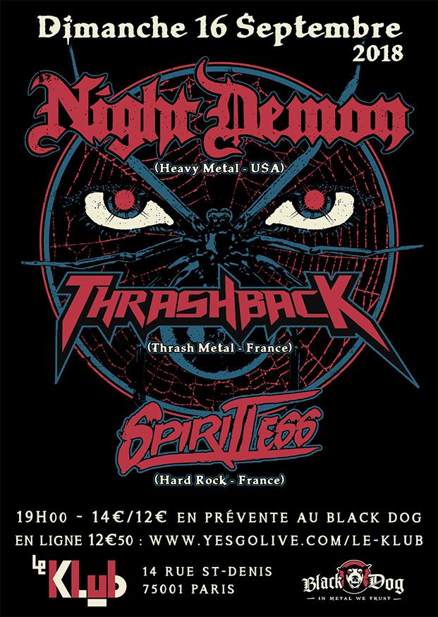 Night Demon, Thrashback & Spiritless ■ 16.09